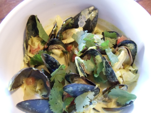 mussels with cabbage and cilantro