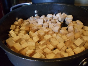 Brown the tofu well, then pull out of the pan before adding the vegetables.