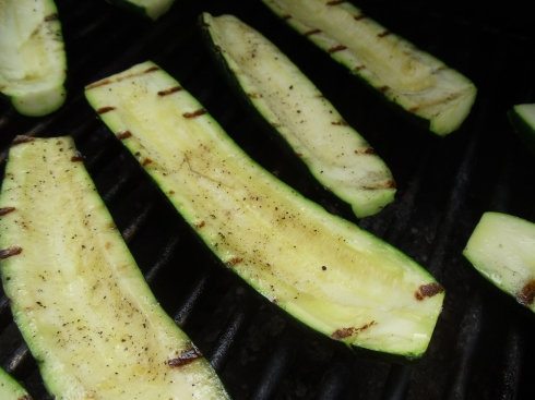 When you grill the zucchini, just lightly char them.