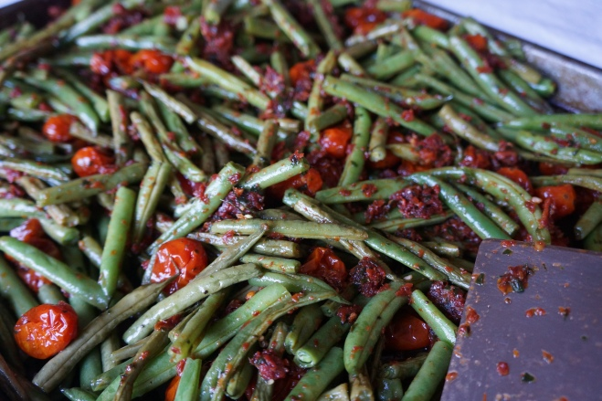 green beans with sundried pesto